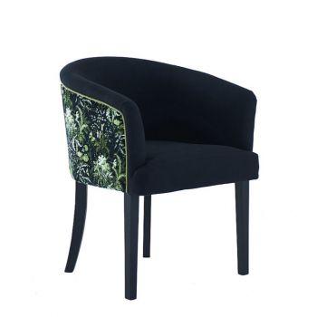 Elegant Curved Back Upholstered Patterned Dining Chair Velvet