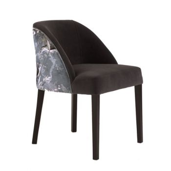 Elegant Curved High Back Upholstered Patterned Dining Chair Velvet