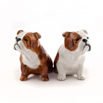 English Bulldog Salt & Pepper Set Quail Ceramics