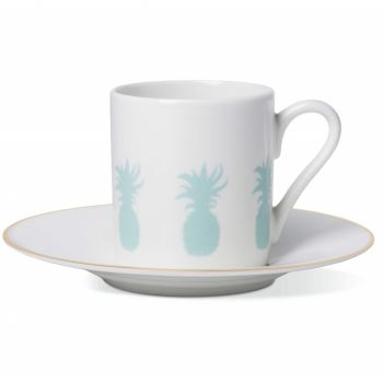 Pineapple Espresso Cup & Saucer with Gold Rim