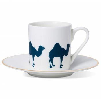 Camel Espresso Cup & Saucer with Gold Rim