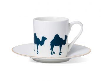 Camel Espresso Cup & Saucer With Gold Rim Alice Peto
