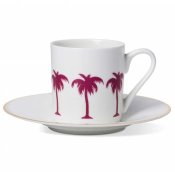 Palm Tree Espresso Cup & Saucer with Gold Rim