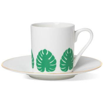 Tropical Leaf Espresso Cup & Saucer With Gold Rim On Sauce