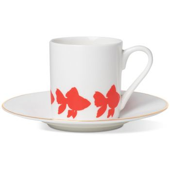 Goldfish Espresso Cup & Saucer With Gold Rim On Saucer