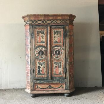 Exceptional Folk Painted Pine Marriage Armoire