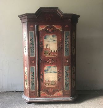 18th Century Painted Folk Art Marriage Cupboard, Armoire