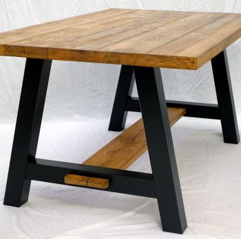 Rustic Reclaimed Oak A Frame Trestle Dining Table