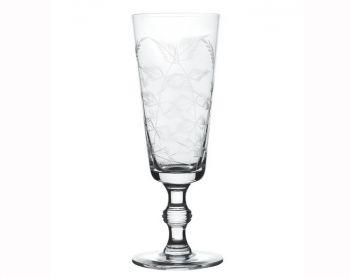Set of 4 Crystal Champagne Flutes with Fern Design