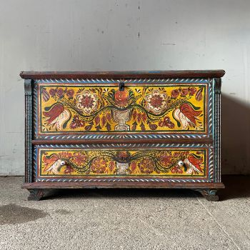 Original Antique Red Painted & Carved Marriage Box With Flowers John Cornall
