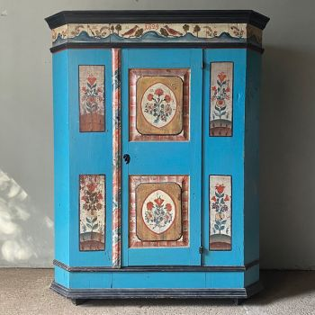 Antique Folk Painted Marriage Cupboard With Blue Urns