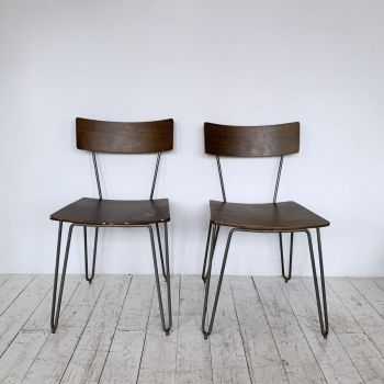 Four Mid Century Style Plywood And Painted Grey Metal Chairs