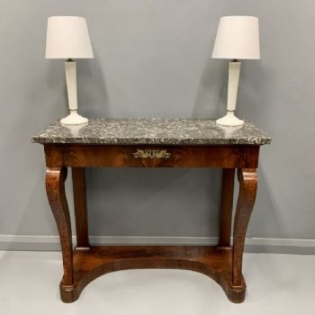 French Empire Marble Top Console Table With Drawer