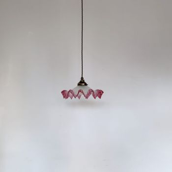 French Frosted Handkerchief Shade With Burgundy Edge