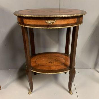 French Oval Side Table With Marquetry & Brass