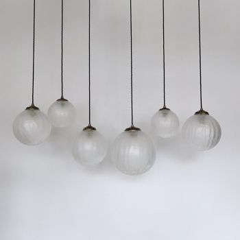 Medium Frosted Crackled Glass Globe Shades