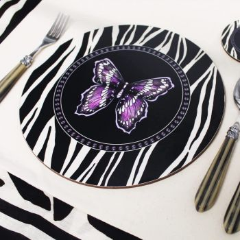 Melamine Eucalyptus Cork Printed Zebra Butterfly Patterned Placemat