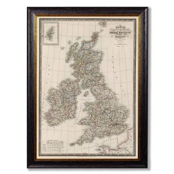 C. 1838 Map of British Isles Vintage Print
