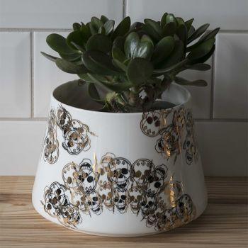 Gold Skull Plant Pot