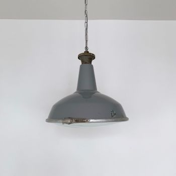 Grey Enamel Industrial Glass Shade