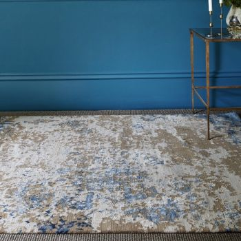 Hand Knotted Tibetan Wool Bamboo Silk 100 Knots Patina Marble Geode Rug