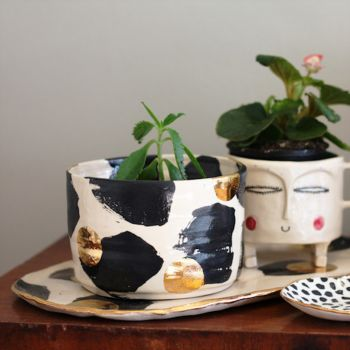 Handmade Ceramic Black and Gold Lustre Spots Planter