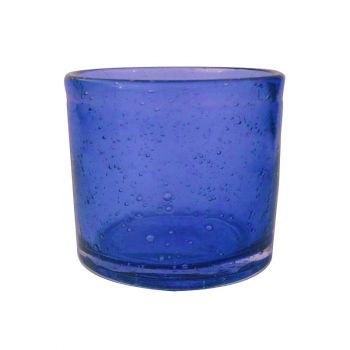 Handmade Hand Blown Bubble Glass Unique Pack of 6 Tea Lights Cobalt Blue