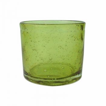 Handmade Hand Blown Bubble Glass Unique Pack of 6 Tea Lights Olive Green Lime