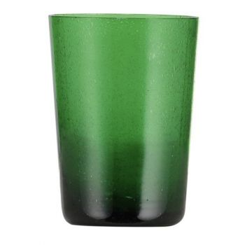 Handmade Hand Blown Bubble Glass Unique Tumbler Cup Emerald Green