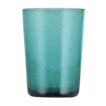 Handmade Hand Blown Bubble Glass Unique Tumbler Cup Petrol Blue