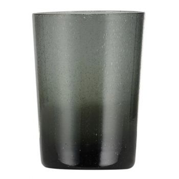 Handmade Hand Blown Bubble Glass Unique Tumbler Cup Smokey Grey Charcoal