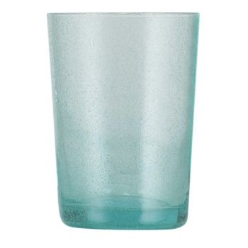 Handmade Hand Blown Bubble Glass Unique Tumbler Cup Turquoise Blue