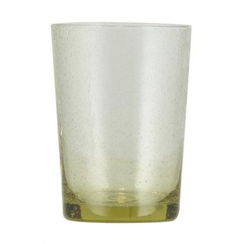 Handmade Hand Blown Bubble Glass Unique Tumbler Cup Tuscan Yellow