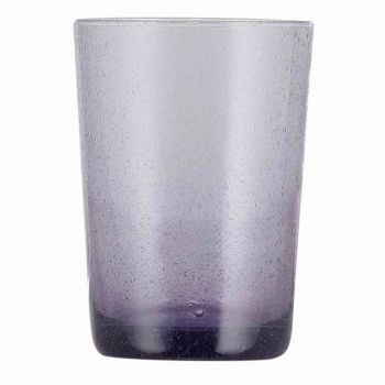 Handmade Hand Blown Bubble Glass Unique Tumbler Cup Violet Purple