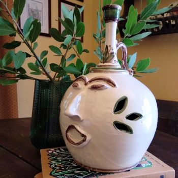 Handmade Hand Decorated Clay Flask Vase Face