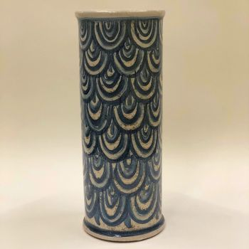 Handmade Hand Painted Clay Cylinder Patterned Vase