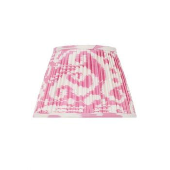 Handmade Hand Stitched Silk Ikat Lampshade Traditional Modern Pink White Patterned