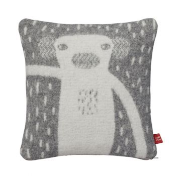 Handmade Knitted Lambswool Reversible Cushion Monkey Grey