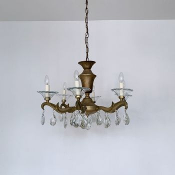Heavy Cast Brass Chandelier With Crystal Pear Drops