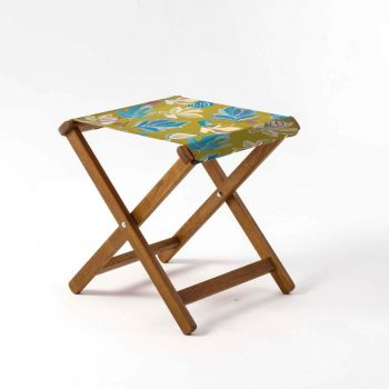 Outdoor Teak Stool with House of Turnowsky Lime 'Fantasy Florals' Design