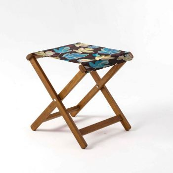 Outdoor Teak Stool with House of Turnowsky Cocoa 'Fantasy Florals' Design
