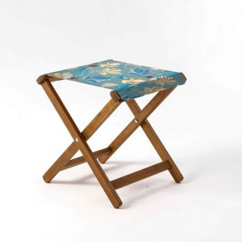 Outdoor Teak Stool with House of Turnowsky Blue 'Fantasy Florals' Design