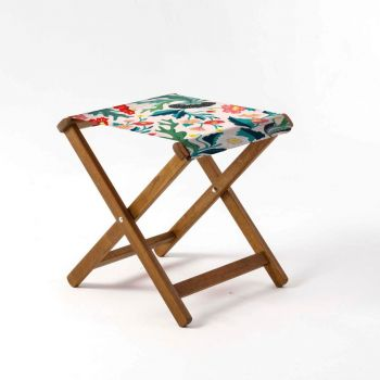 Outdoor Teak Stool with House of Turnowsky Flowers 'Fantasy Florals' Design