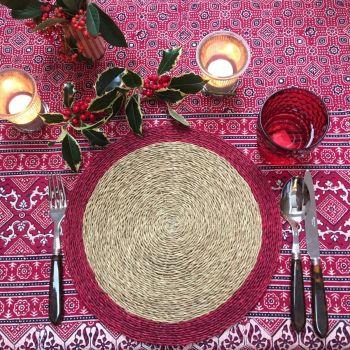 Red block print tablecloth Sarah K