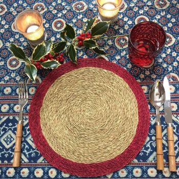Indigo & Cream Tablecloth block print sarah k