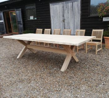 solid oak garden dining crossed leg dining table