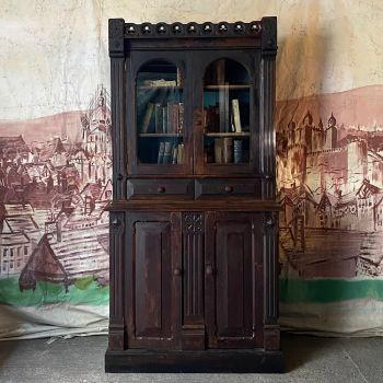 Important Gothic Revival Pine Bookcase In Original Paint