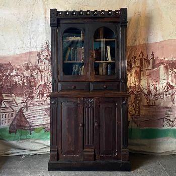 Important Gothic Revival Pine Bookcase In Original Paint