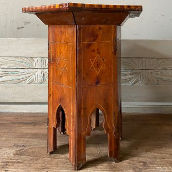 Inlaid Side Table In Olive Wood With Solomon's Star