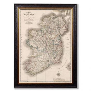 C. 1838 Map of Ireland Vintage Print